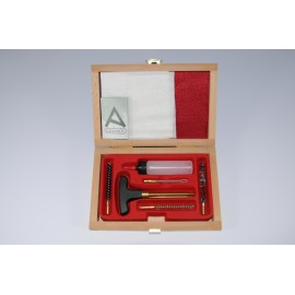 Cleaning kit for pistol or revolver with three-piece brass cleaning rod.