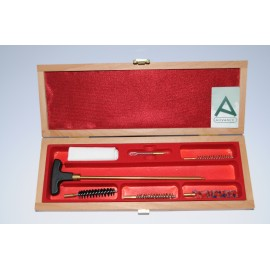 Cleaning kit for pistol or revolver with one-piece brass cleaning rod.