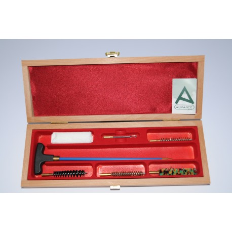 Cleaning kit for pistol or revolver with one-piece plastic coated steel cleaning rod.