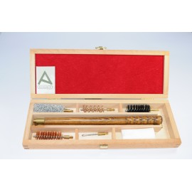 Shotgun cleaning kit with three-piece wooden cleaning rod.