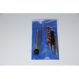 Pistol or revolver cleaning kit with two-piece brass cleaning rod