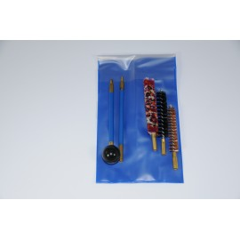 Pistol or revolver cleaning kit with two-piece plastic coated steel cleaning rod.