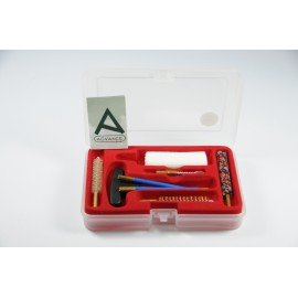Cleaning kit for pistol or revolver with three-piece plastic coated steel cleaning rod.