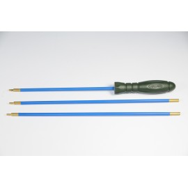 Three-piece plastic coated steel Ø 5 mm.cleaning rod for rifle, revolving ergonomic plastic handle.
