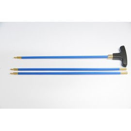 Three-piece Ø 5 mm.plastic coated steel cleaning rod for rifle, revolving ABS handle.
