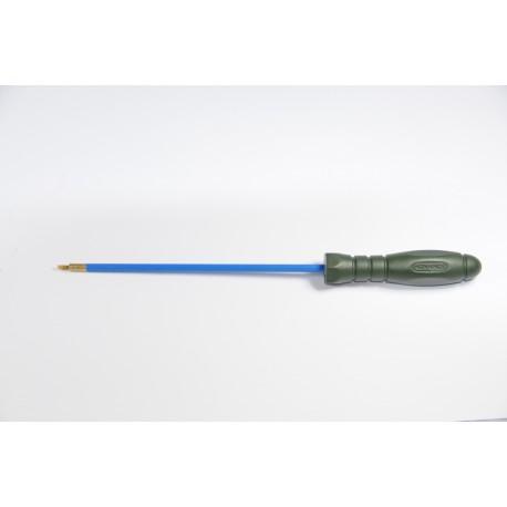 One-piece steel cleaning Ø 5 mm.rod for pistol or revolver, revolving ergonomic plastic  handle.
