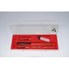 Rifle cleaning kit with three-piece brass cleaning rod
