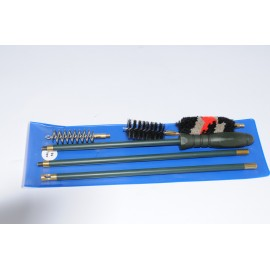 Rifle cleaning kit with three-piece plastic coated steel cleaning rod