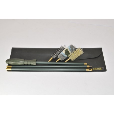 Black Wallet Rifle cleaning kit with three-piece plastic coated steel cleaning rod