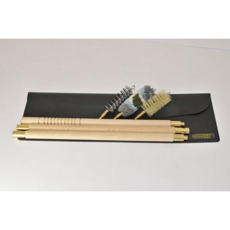 Black Wallet Shotgun cleaning kit with three-piece wooden